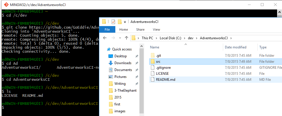 git add new folder through windows explorer