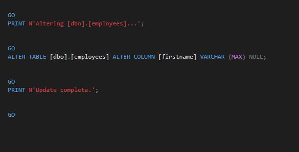 alter column when dropping a non null constraint