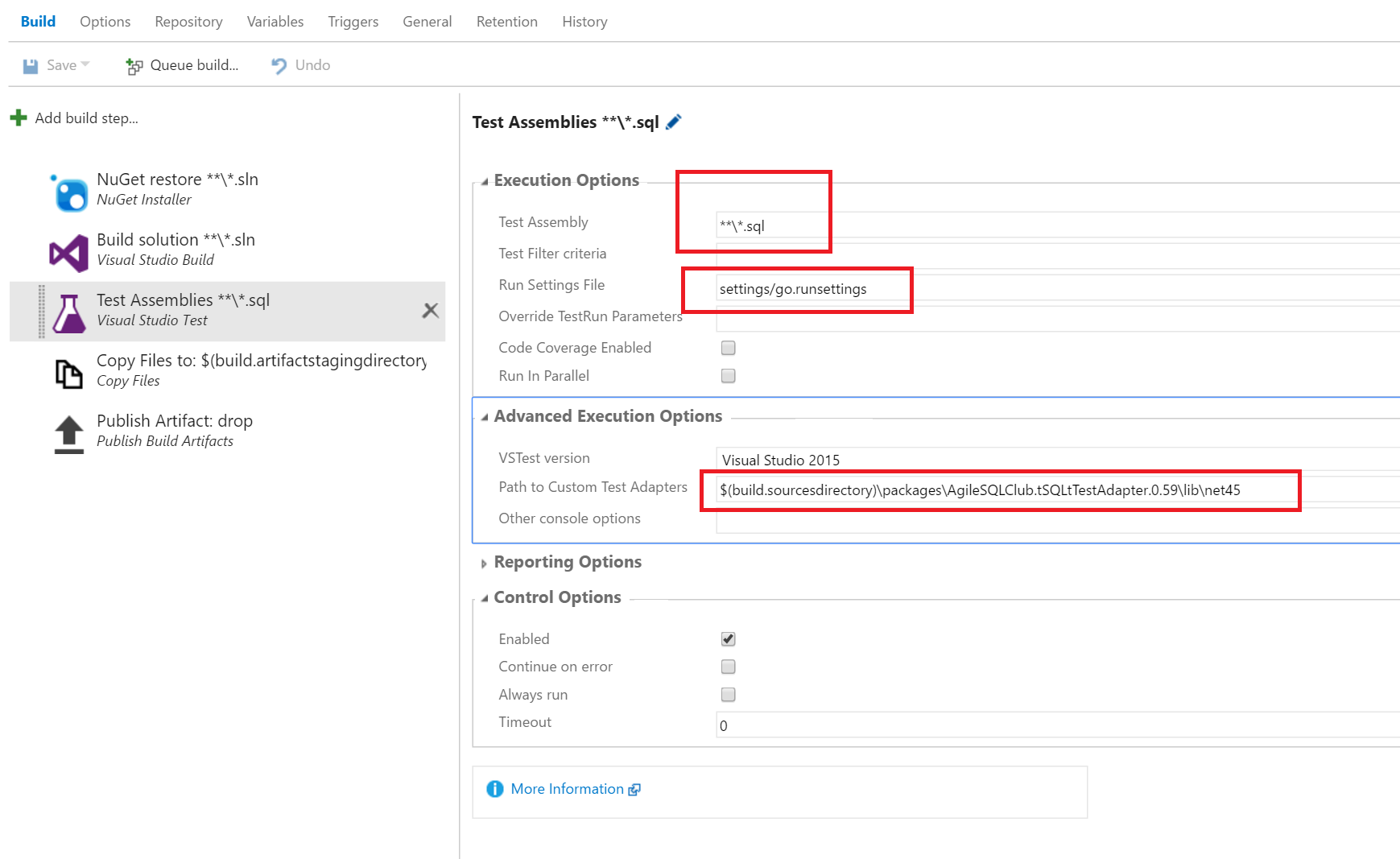 Configuring the test task on vsts